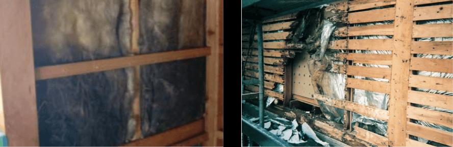 内部結露で傷んだ建物の写真